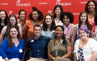 Chick-fil-A Moms Panel member taking a selfie at headquarters in Atlanta, GA