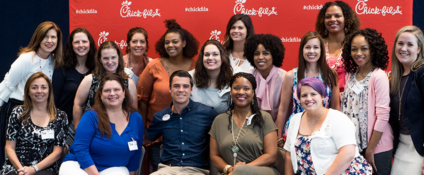Chick-fil-A Moms Panel member taking a selfie at headquarters in Atlanta, GA